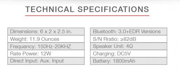 portable speaker tech specs